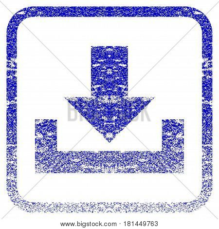 Downloads textured icon for overlay watermark stamps. Blue vectorized texture. Flat vector symbol with dirty design inside rounded square frame. Framed blue rubber seal stamp imitation.