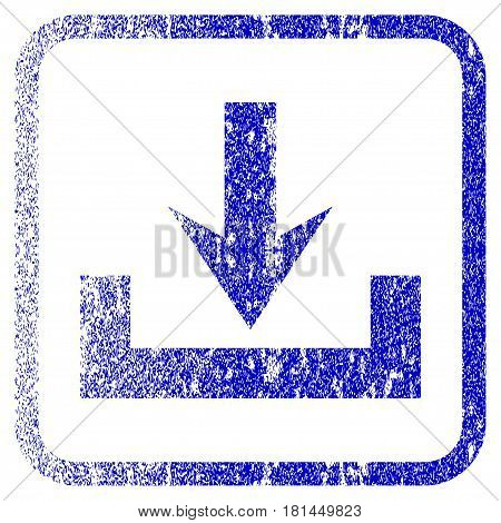 Downloads textured icon for overlay watermark stamps. Blue vectorized texture. Flat vector symbol with dust design inside rounded square frame. Framed blue rubber seal stamp imitation.