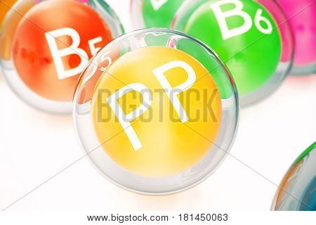 Vitamin PP , isolated on white background. Symbol of health and longevity. 3d rendering