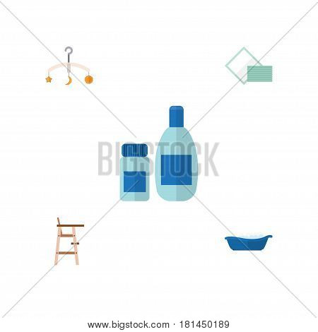 Flat Child Set Of Napkin, Mobile, Bathtub And Other Vector Objects. Also Includes Bathtub, Bathing, Stool Elements.