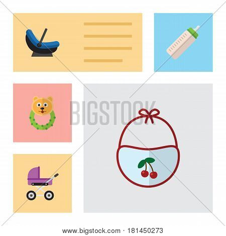 Flat Baby Set Of Feeder, Pram, Stroller And Other Vector Objects. Also Includes Cradle, Pram, Baby Elements.