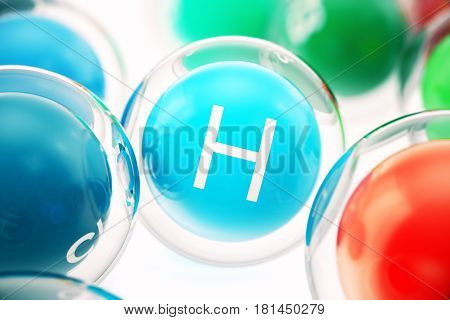 Vitamin H , isolated on white background. Symbol of health and longevity. 3d rendering