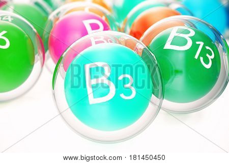Vitamin B3, group of organic substances, food additive, isolated, on white background. 3d rendering