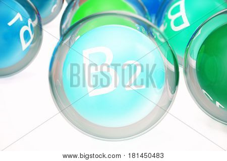 Vitamin B2, group of organic substances, food additive, isolated, on white background. 3d rendering
