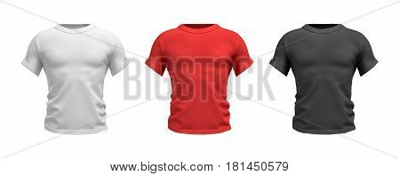 3d rendering of three male T-shirts in realistic muscular torso front view in white, red and black colors. Clothes and wardrobe. Casual and sport wear. T-shirts and polos.