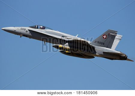 Swiss Air Force F-18 Hornet Fighter Jet Airplane