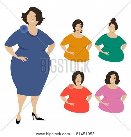 Different looks of plump women, isolated on a white background. Five hair styles. Vector illustration.