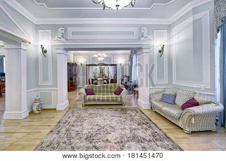 living room interior design in new luxury house.