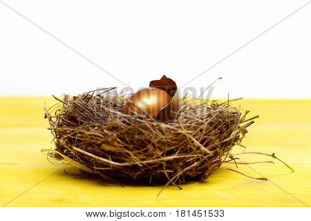 Broken Easter Golden Egg With Shell In Bird Nest