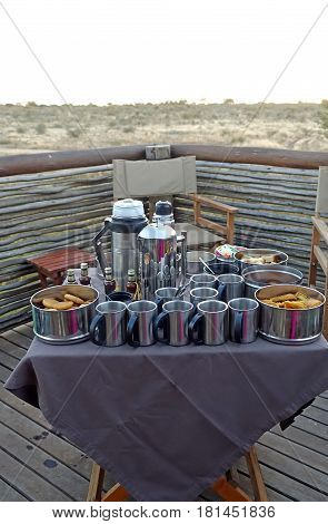 Picture of a safari breakfast in South Africa.