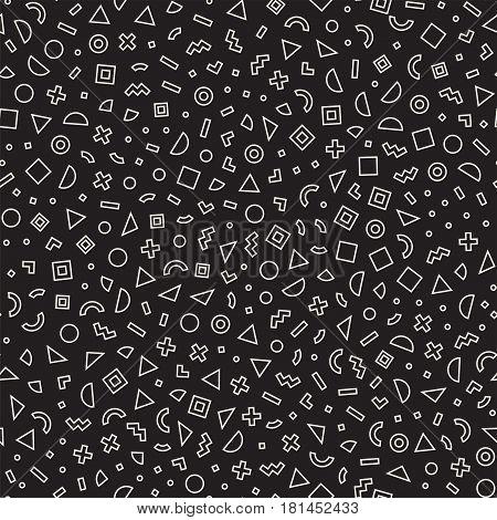 Seamless primitive jumble minimalism patterns. Randomly scattered geometric shapes. Abstract retro background design