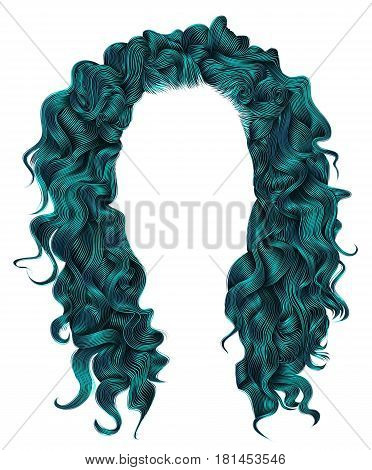 long curly hairs blue colors . beauty fashion style . wig .