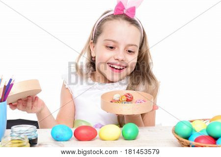 Small Happy Baby Girl With Easter Eggs Isolated On White