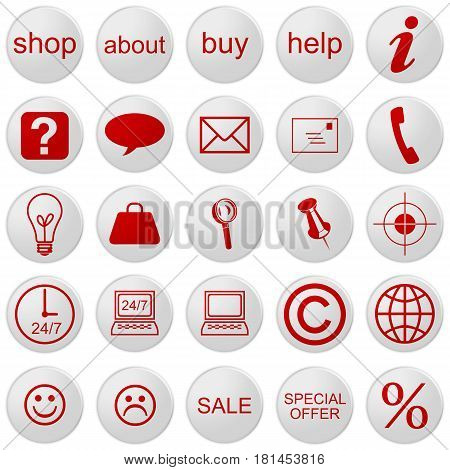 3d Web Shop Icons: Set With 25 Buttons 3d illustration