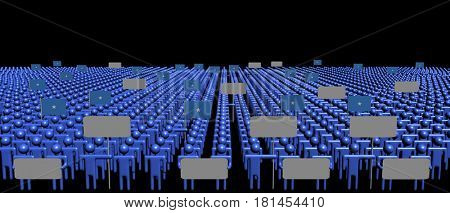 Crowd of people with signs and Somalia flags 3d illustration