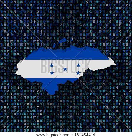 Honduras map flag on hex code 3d illustration