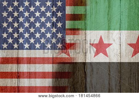 Relationship between the USA and Syria The flags of USA and Syria merged on weathered wood 3D Illustration