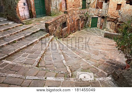 Pitigliano, Grosseto, Tuscany, Italy: picturesque old staircase in the medieval town founded in Etruscan time