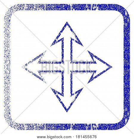 Expand Arrows textured icon for overlay watermark stamps. Blue vectorized texture. Flat vector symbol with unclean design inside rounded square frame. Framed blue rubber seal stamp imitation.