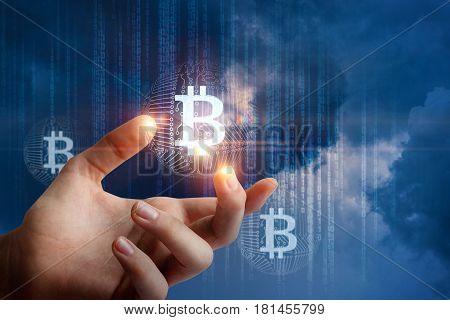 Hand Show Bit Coin .