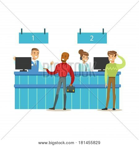 Client Service Counter With Bank Visitors And Workers. Bank Service, Account Management And Financial Affairs Themed Vector Illustration. Smiling Cartoon Characters In Bank Office Interior Vector Illustration.