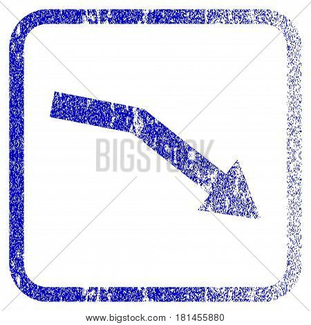 Fail Trend textured icon for overlay watermark stamps. Blue vectorized texture. Flat vector symbol with dirty design inside rounded square frame. Framed blue rubber seal stamp imitation.