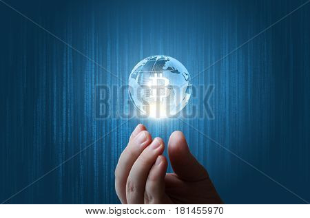Bit Coin Globe In Hands .