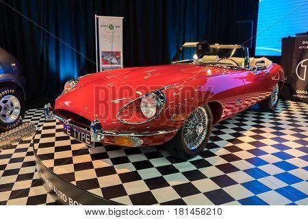 Red E-type Jaguar Car Displayed In Tel-aviv. Israel