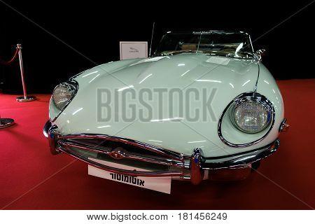 1969 E-type Jaguar Car Displayed In Tel-aviv. Israel