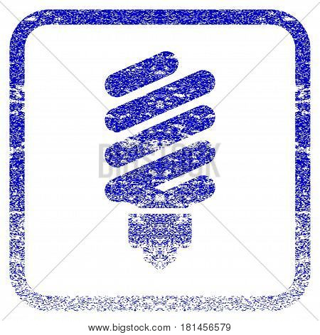 Fluorescent Bulb textured icon for overlay watermark stamps. Blue vectorized texture. Flat vector symbol with dirty design inside rounded square frame. Framed blue rubber seal stamp imitation.