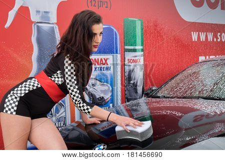 Undefined Sexy Girl Wash Car