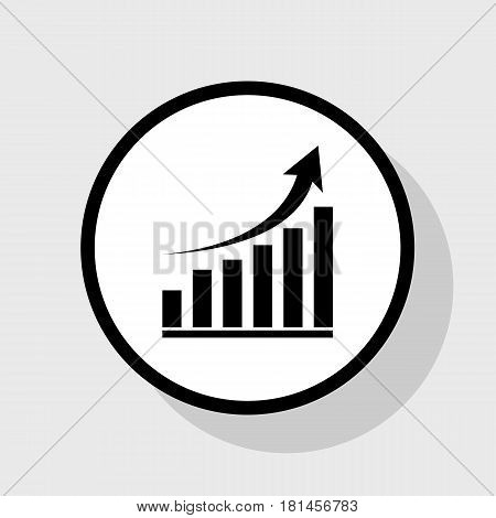 Growing graph sign. Vector. Flat black icon in white circle with shadow at gray background.