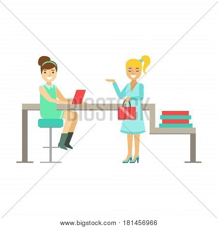 Girls Colleagues Chatting At Work, Coworking In Informal Atmosphere In Modern Design Office Infographic Illustration. Office Worker In Comfortable Working Environment Simple Cartoon Drawing.