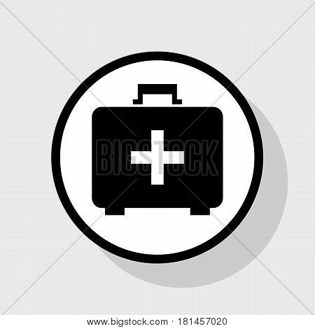 Medical First aid box sign. Vector. Flat black icon in white circle with shadow at gray background.