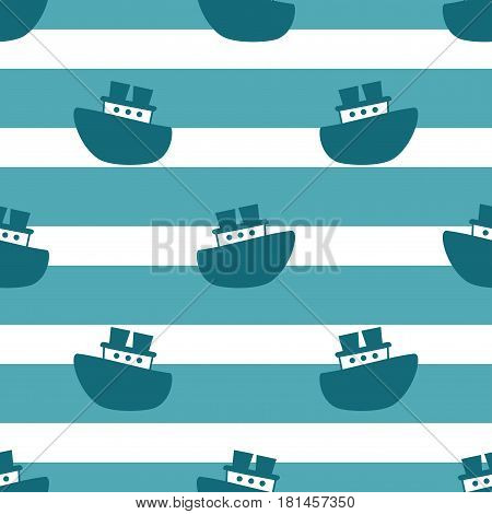 Cute seamless pattern with blue boats on the white background. Vector illustration for birthday, anniversary, party invitations, scrapbooking, prints, fabric, cards. Marine theme