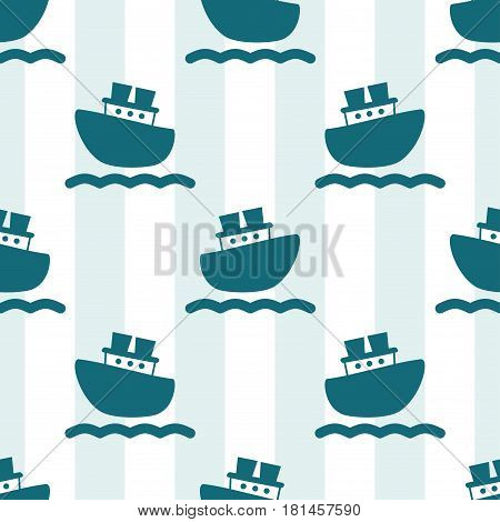 Cute seamless pattern with blue boats and waves. Background of stripes and lines. Vector illustration for birthday anniversary party invitations scrapbooking prints fabric cards. Marine theme