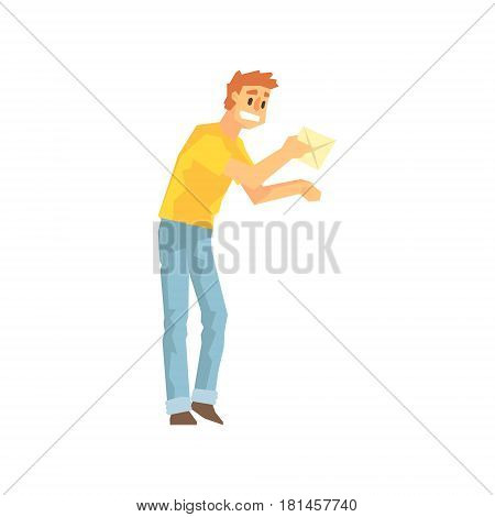 Guy Bringing The Mail To Door, Delivery Company Employee Delivering Shipments Illustration. Part Of Manual Laborer Loading And Bringing Items Cartoon Characters Set.