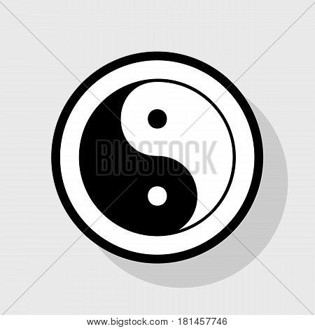 Ying yang symbol of harmony and balance. Vector. Flat black icon in white circle with shadow at gray background.