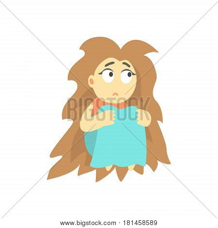 Sad Girl With Bushy Hair Sitting Feeling Blue, Part Of Depressed Female Cartoon Characters Series. Depression And Sadness Vector Cute Illustration.