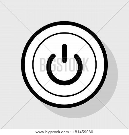On Off switch sign. Vector. Flat black icon in white circle with shadow at gray background.