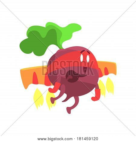Beetroot WIth Jet Wing In Mask, Part Of Vegetables In Fantasy Disguises Series Of Cartoon Silly Characters. Colorful Vector Illustration With Fresh Food Disguised As Magic And Comics Creatures.