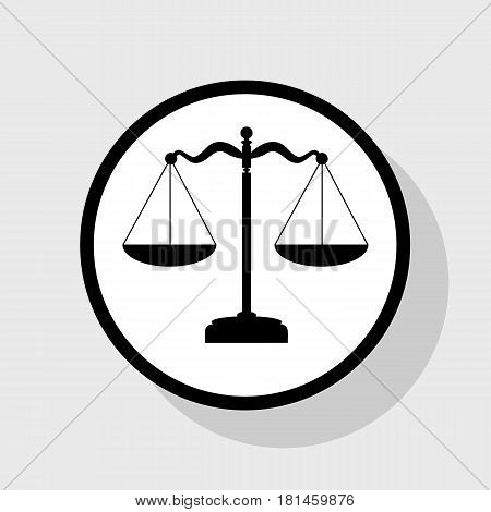 Scales balance sign. Vector. Flat black icon in white circle with shadow at gray background.