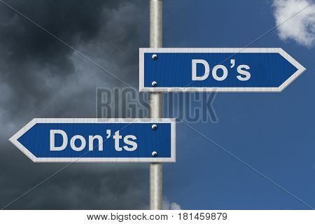 Learning to use proper grammar Blue road sign with words Do's Don'ts with stormy and bright sky background 3D Illustration