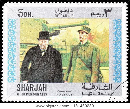 SHARJAH - CIRCA 1970 : Cancelled postage stamp printed by Sharjah, that shows General de Gaulle with Winston Churchill.