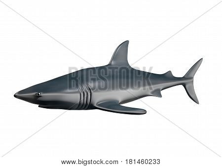 Shark isolated on white background, 3D rendering