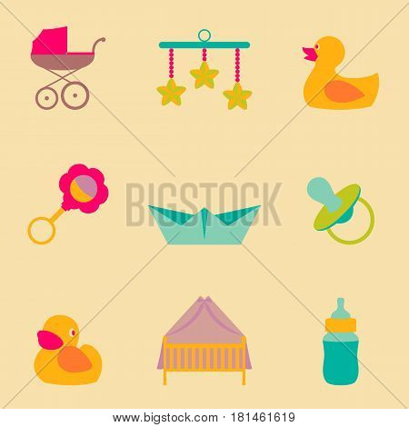 Vector set collection icons of color object for kids and childrens