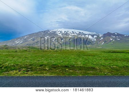 Landscape and the Snaefellsjokull volcano in the Snaefellsnes peninsula west Iceland poster