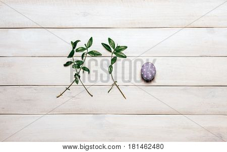 A colorful Easter egg of purple with a white dot, painted in handmade and two branches of spring plants lie in a row on an old white wooden background. Top view, split lay style