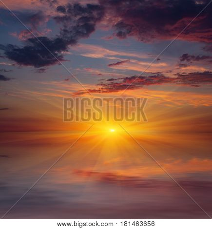 sunset scene over water surface