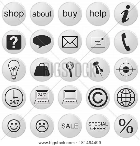 3d Web Shop Icons: Set With 25 Buttons 3d illustration black and white